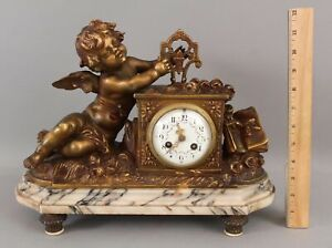 Antique French Gilt Bronze Marble Neoclassical Cupid Cherub Marble Mantle Clock