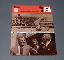 FICHE BOXE BOXING GEORGES CARPENTIER Vs JACK DEMPSEY 1921