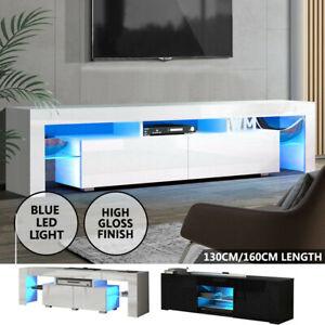 TV Unit Cabinet TV Stand Matt Body & High Gloss Doors LED Light Wooden 130/160CM