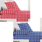 HEARTS Printed - Sheet Set - SINGLE DOUBLE QUEEN KING - BLUE RED