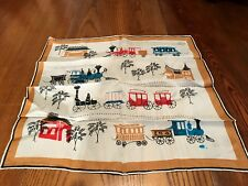 Fabulous 1930's Vintage 100% Silk Train/SteamEngine Scarf/Hand Screen Printed