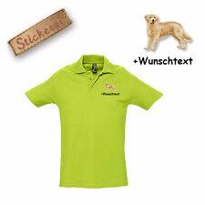Camiseta Polo Algodón Bordado Golden Retriever + Texto personalizado