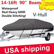 "14 15 16 ft Waterproof Fishing Ski Bass Trailerable V shape Boat Cover 90"" Beam"