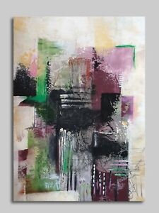 Geometrical abstract textured painting. Minimalist acrylic on high quality paper