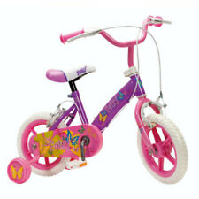 """Girls 12"""" Bike With Stabilisers Kids Pink Purple Fairy Design First Cycle"""