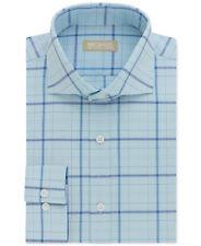 $145 MICHAEL KORS Men REGULAR-FIT WHITE BLUE CHECK BUTTON DRESS SHIRT 16.5 34/35