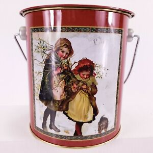 "Christmas Tin round Victorian Girls & Dog 5"" tall 4"" Dia. w Handle"