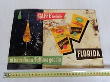 rif1 rara insegna lamiera cartonata originale caffè Florida Trieste sign old