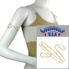 USA Made Spiral Upper Arm Bracelet Armlet Gold Tone Cuff Band Double Curved