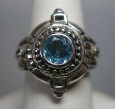 Estate Sale Sterling Silver Genuine Blue Topaz, Peridot and Smoky Quartz Ring