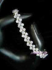 Bridesmaid Prom Simulated Russian Diamond Bridal White Gold Filled Bracelet b168