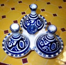 MOROCCAN TAGINE TRIPLE SPICE HOLDER FEZ BLUE CERAMIC POTTERY COOKING