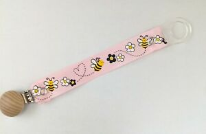 Dummy clips pink bumblebee dummy strap with mam style adapter girls dummy clips