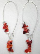 Carnelian nuggets on long silver plated hooks drop earrings approx. 7cm