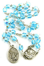 Aqua Blue St Saint Michael Padre Pio Guardian Angel Rosary Beads Chaplet 6MM