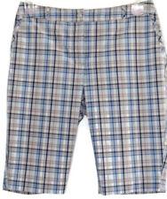 Annika Cutter & Buck Golf Shorts Size 4 Eur 34 Plaid Bermuda Blue Gray