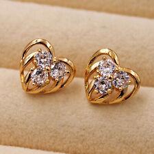 18K Gold Filled - Multilayer Hollow Heart Topaz Zircon Stud Women Earrings DS