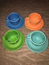 4 Colorful Fiesta Cups and Saucers (Lot B)