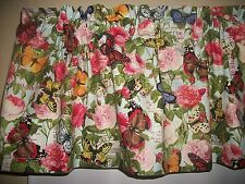 Butterflies Roses Postcard Peonies fabric kitchen curtain topper Valance