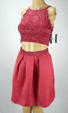 by & by Wine Red Sleeveless 2-Piece Lace Homecoming Party Dress, Size 1 Juniors