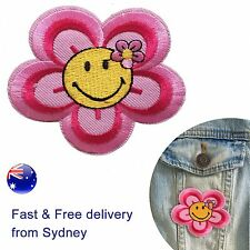 Flower Smiley Iron on patch Pink floral daisy Camellia smile iron-on patches