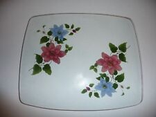 "VINTAGE CHANCE GLASS GOLD RIMMED BLUE PINK CLEMATIS PLATE/PLATTER 11.5""x9.5"" GC"