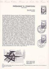Document Philatélique Timbre 1er Jour : 02/04/ 1975 - Président G. Pompidou