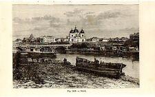 Stampa antica OMSK veduta Siberia Russia 1889 Antique print античный печать