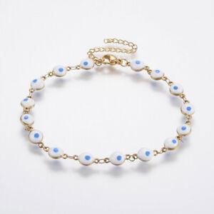 """Stainless Steel Link Bracelet Enamel Evil Eye White Blue 8.2"""" Adjustable P225"""