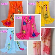 Fashion Women's Long Rose Flower Print Chiffon Scarf Soft Wrap Lady Shawl Silk