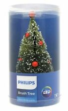 """Philips Battery Operated 6"""" Red Ornaments LED White Lights Christmas Brush Tree"""