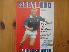 MATCH programme Scotland V Yougoslavie 1988