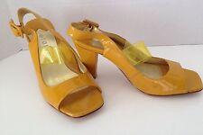Taryn Taryn Rose Yellow Patent Open Toe Slingback Sandals 8