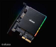 Akasa AK-PCCM2P-03 M.2 PCIe SSD and M.2 SATA SSD Card with RGB LED and Heatsink