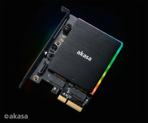 Akasa AK-PCCM2P-03 M.2 PCIe SSD and M.2 SATA SSD Card with RGB LED and Heatsink