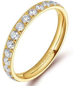 3mm Women Gold Titanium Engagement Cubic Zirconia Eternity Wedding Band Ring