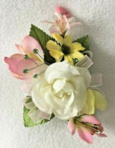 BEAUTIFUL HANDMADE MOTHERS DAY Corsage Decoration SILK FLOWERS PINK ROSE RIBBON