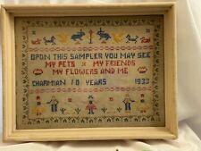 1933 Child's Needlepoint Cross Stitch Needlework Sampler Framed