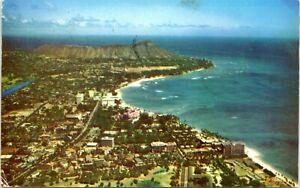 Waikiki Hawaii Postcard 1956 Diamond Head Landscape Beaches MG