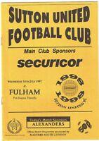 Sutton United v Fulham 1997/8 Friendly