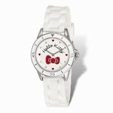 OFFICIALLY LICENSED HELLO KITTY WHITE W/ RED BOW WHITE SILICONE STRAP WATCH