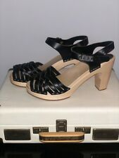 Swedish Hasbeens 39/6 US:8 High Braided Sandal Clog in Black BRAND NEW RRP £180