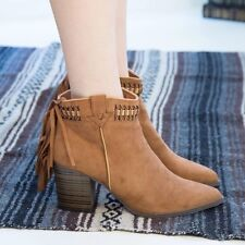19e14505208 New Womens Pointy Toe Chunky Heel Cowboy Western Woven Fringe Ankle Boot  Booties