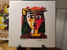 2000 Picasso woman in hat ceramic tile Alcora Spain, Gres Sanchis Art