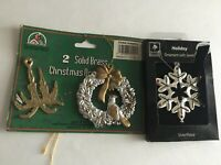 "Vintage Christmas Ornaments Resin & Brass 3"" Ornaments"