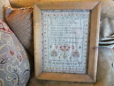 Antique Old 1838 Elizabeth Hall Aged 8 Early American Stitched Sampler In Frame