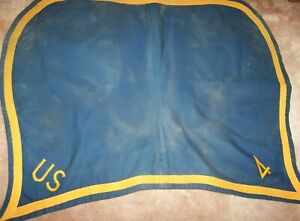U.S. CAVALRY HORSE SADDLE BLANKET, OFFICER'S, 4TH CAV, U.S. ISSUE *COPY*