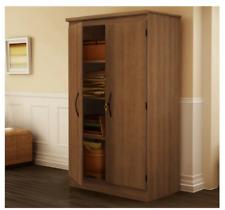 Locking Storage Cabinet Locked Pantry Armoire Large Office Bathroom Laundry Wood