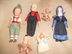 Lot 6 Vintage Miniature Celluloid and plastic Dolls Doll