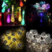 Solar Powered LED Drop String Light Outdoor Christmas Party Garden Decor Lamp UK
